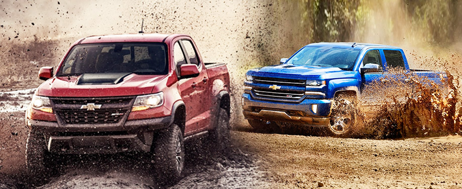 Blue Chevy Silverado 1500 and red Chevy Colorado
